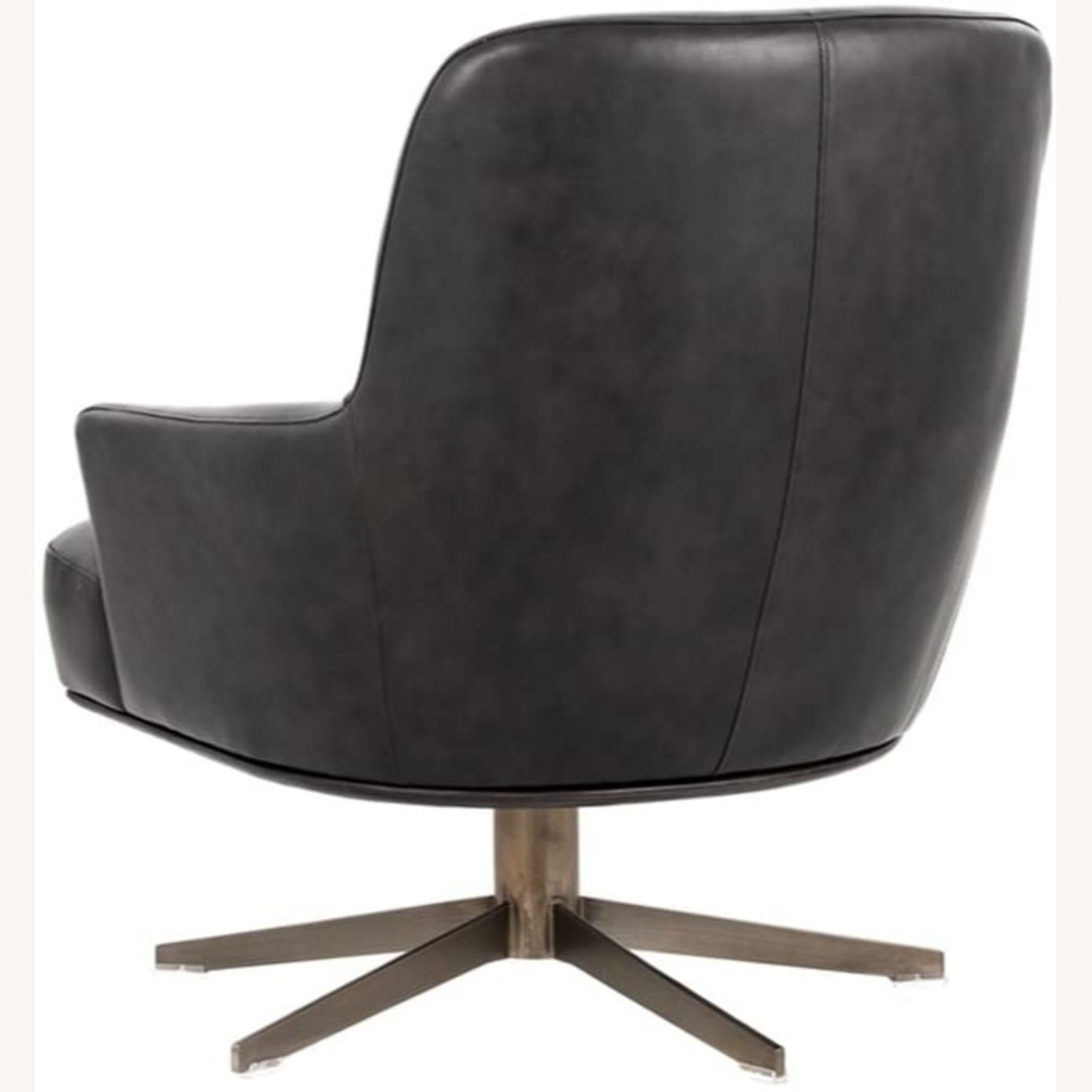 Modern Swivel Chair - Charcoal Leather - image-2
