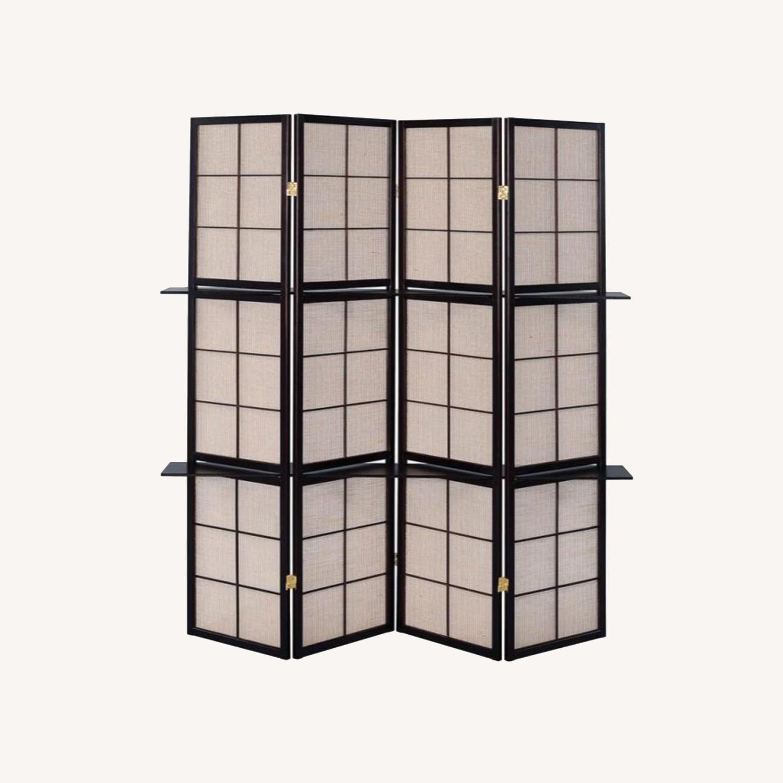 Folding Screen W/ 4-Panels In Tan Jute Fabric - image-0