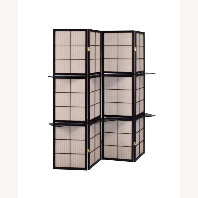 Folding Screen W/ 4-Panels In Tan Jute Fabric - image-1