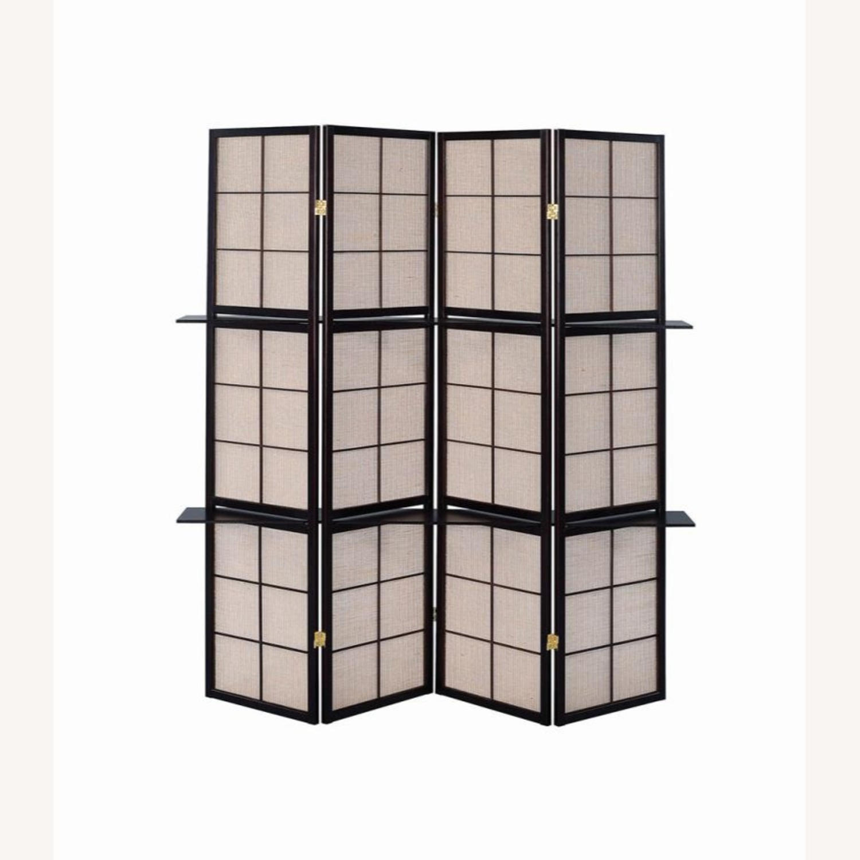 Folding Screen W/ 4-Panels In Tan Jute Fabric - image-2