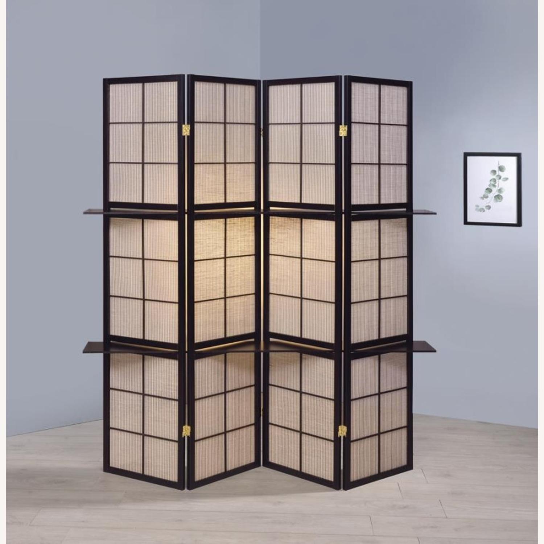 Folding Screen W/ 4-Panels In Tan Jute Fabric - image-6