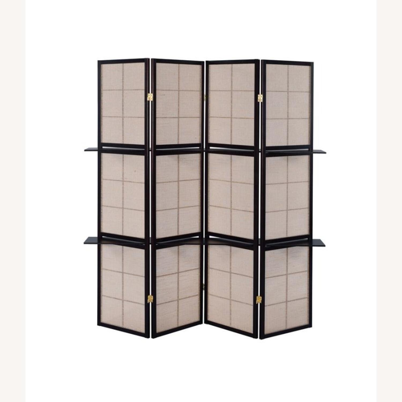 Folding Screen W/ 4-Panels In Tan Jute Fabric - image-4