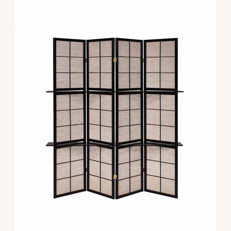 Folding Screen W/ 4-Panels In Tan Jute Fabric - image-3