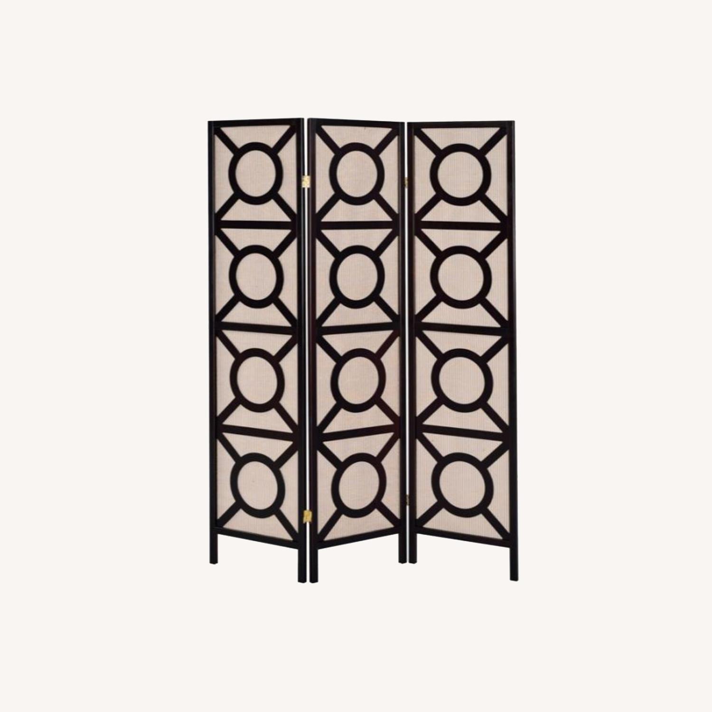 Folding Screen In Tan Jute & Cappuccino Finish - image-6