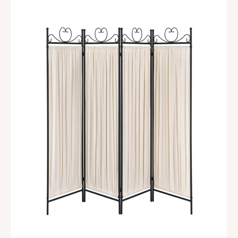 Folding Screen In Beige Fabric & Black Metal - image-1