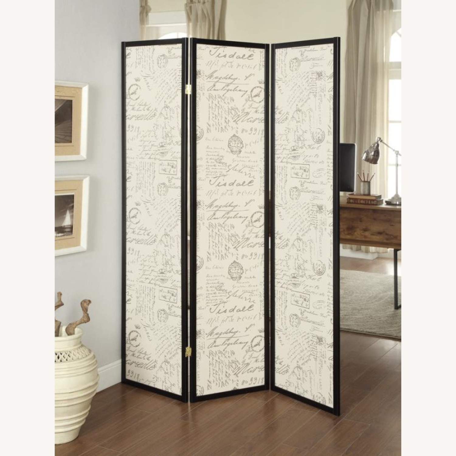 Panel Screen In French Script Pattern Fabric - image-2