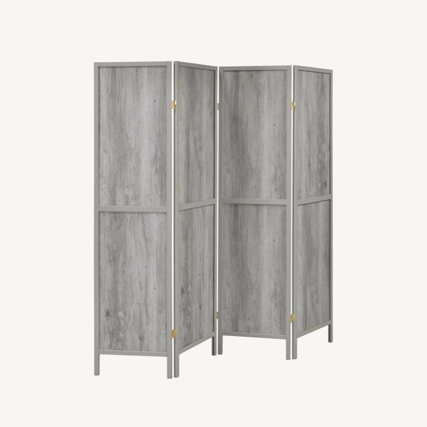 4-Panel Screen In Grey Driftwood & Grey Wood Frame - image-5