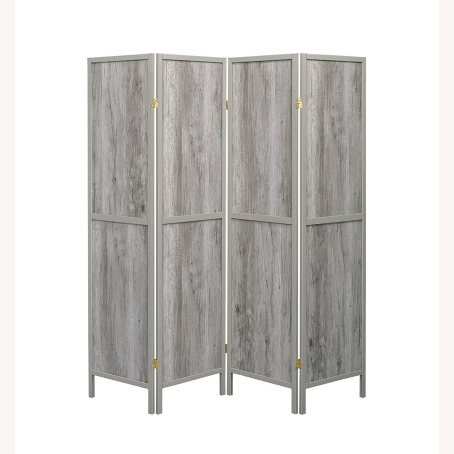 4-Panel Screen In Grey Driftwood & Grey Wood Frame - image-1