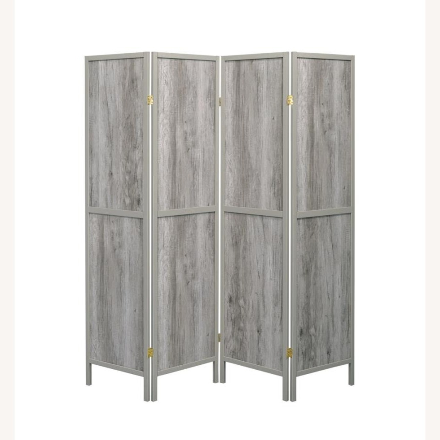 4-Panel Screen In Grey Driftwood & Grey Wood Frame - image-2