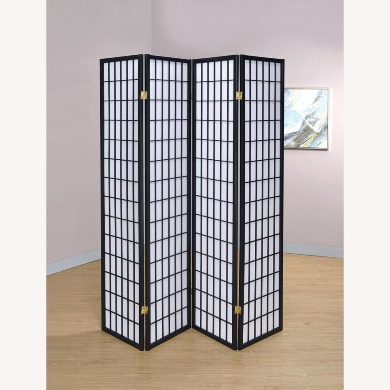 4-Panel Screen In White Paper & Black Frame Finish - image-3