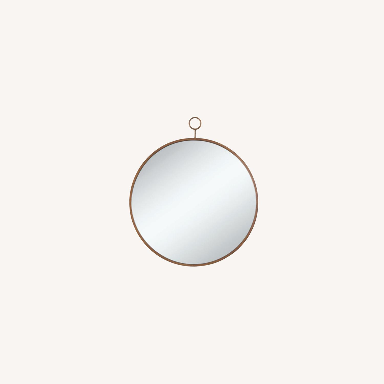 Circular Mirror In Slim Gold Finish Frame - image-3