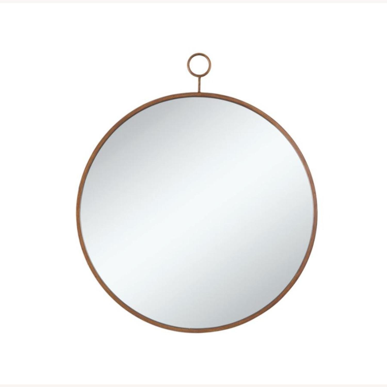 Circular Mirror In Slim Gold Finish Frame - image-1
