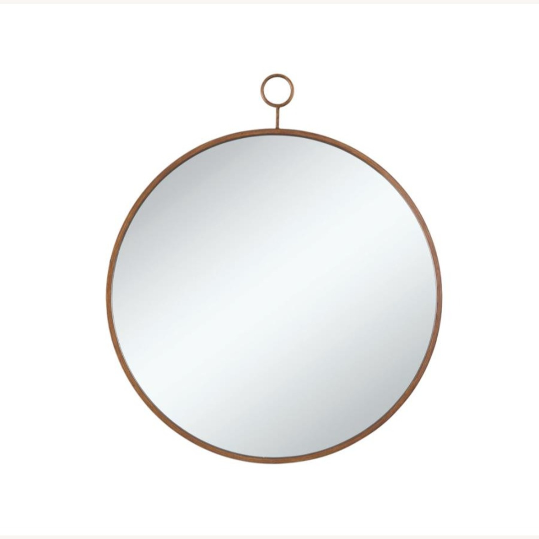Circular Mirror In Slim Gold Finish Frame - image-2