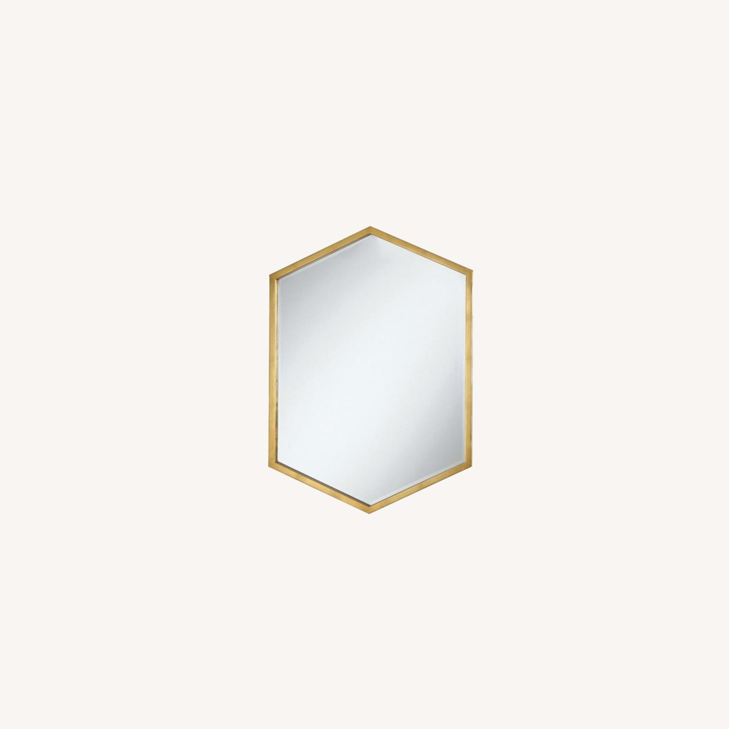 Mirror In Matte Gold Hexagon-Shaped Frame Finish - image-3