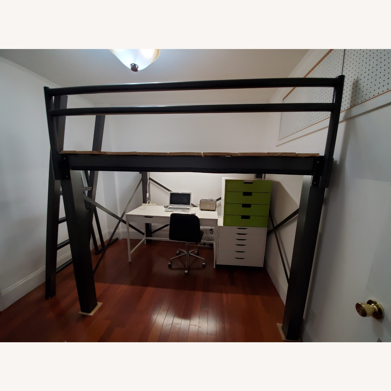 Queen Grey Metal Loft Bed - image-5