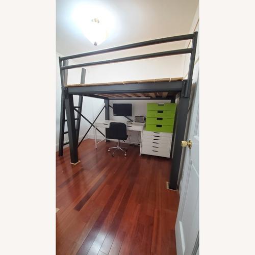 Used Queen Grey Metal Loft Bed for sale on AptDeco