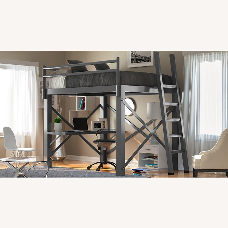 Queen Grey Metal Loft Bed - image-4