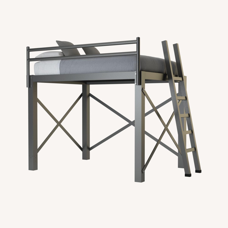 Queen Grey Metal Loft Bed - image-0