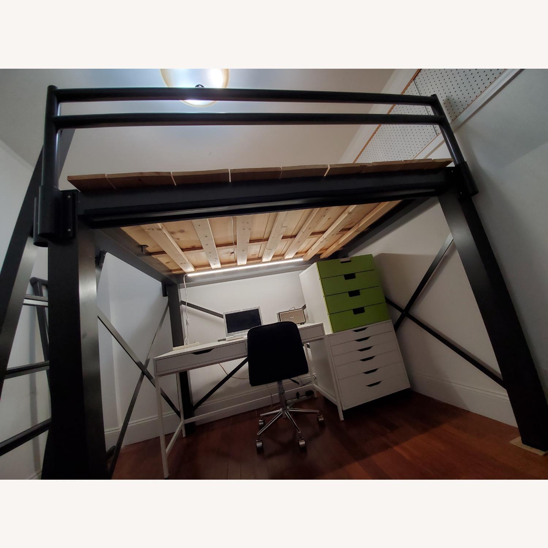 Queen Grey Metal Loft Bed - image-8