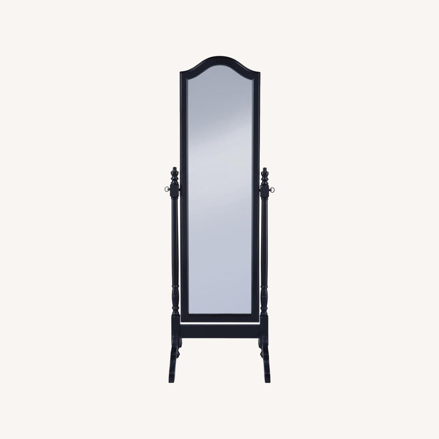 Cheval Mirror In Black Finish W/ Turned Posts - image-6