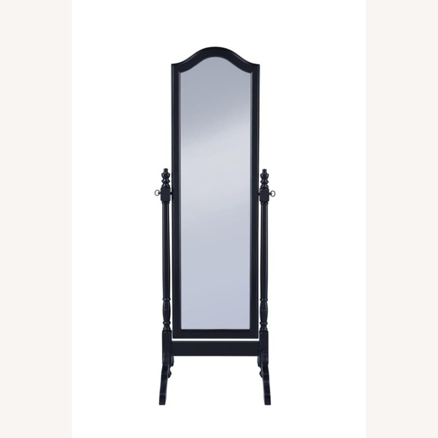 Cheval Mirror In Black Finish W/ Turned Posts - image-1