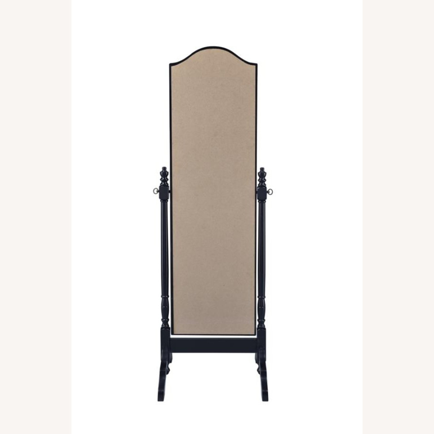 Cheval Mirror In Black Finish W/ Turned Posts - image-3