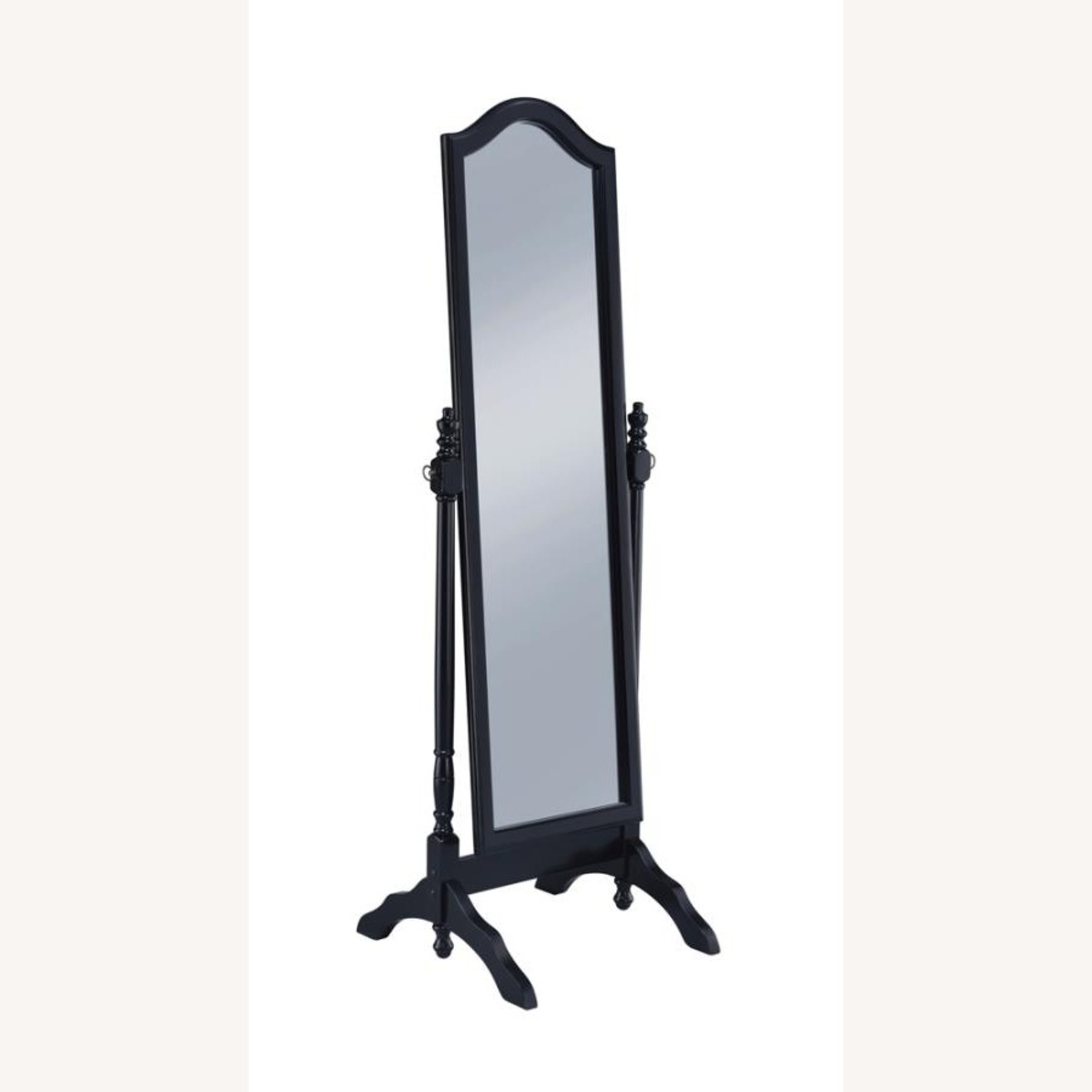 Cheval Mirror In Black Finish W/ Turned Posts - image-0