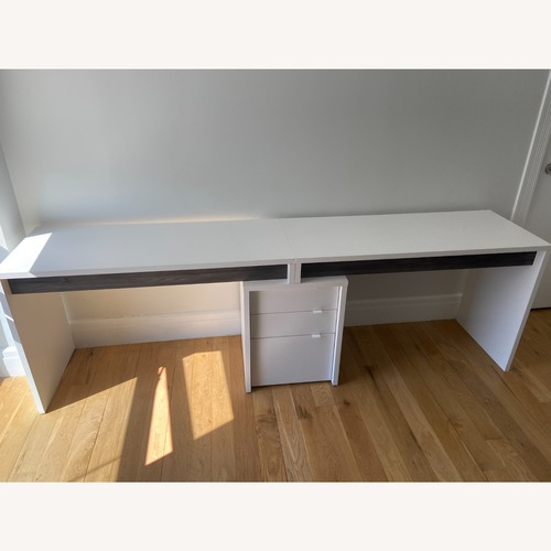 Used Nexera Chrono Dual Writing Desk Bark Grey/White for sale on AptDeco