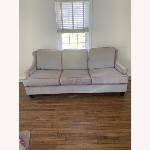 Used Society Social Dove Grey Velvet Sofa for sale on AptDeco