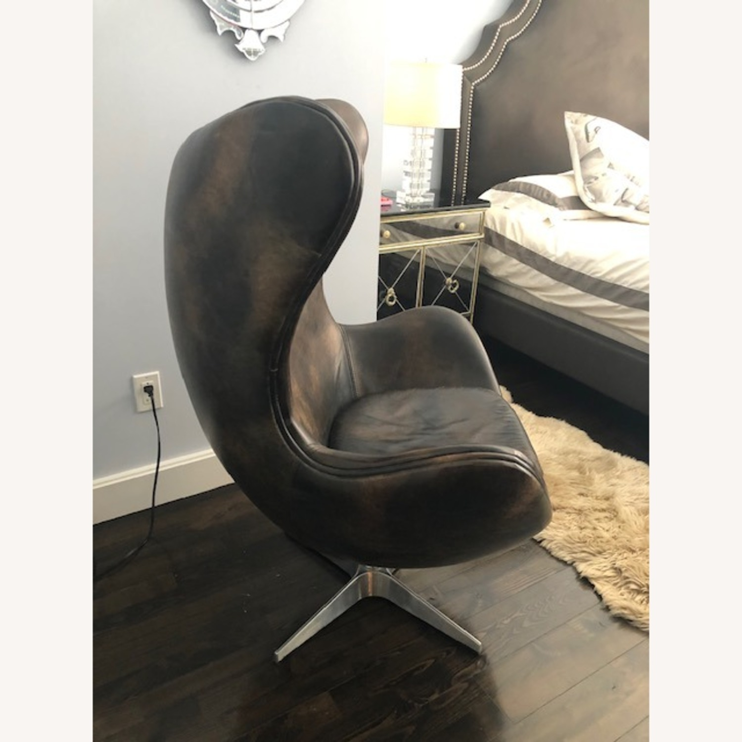 Restoration Hardware Leather Eggchair - image-3