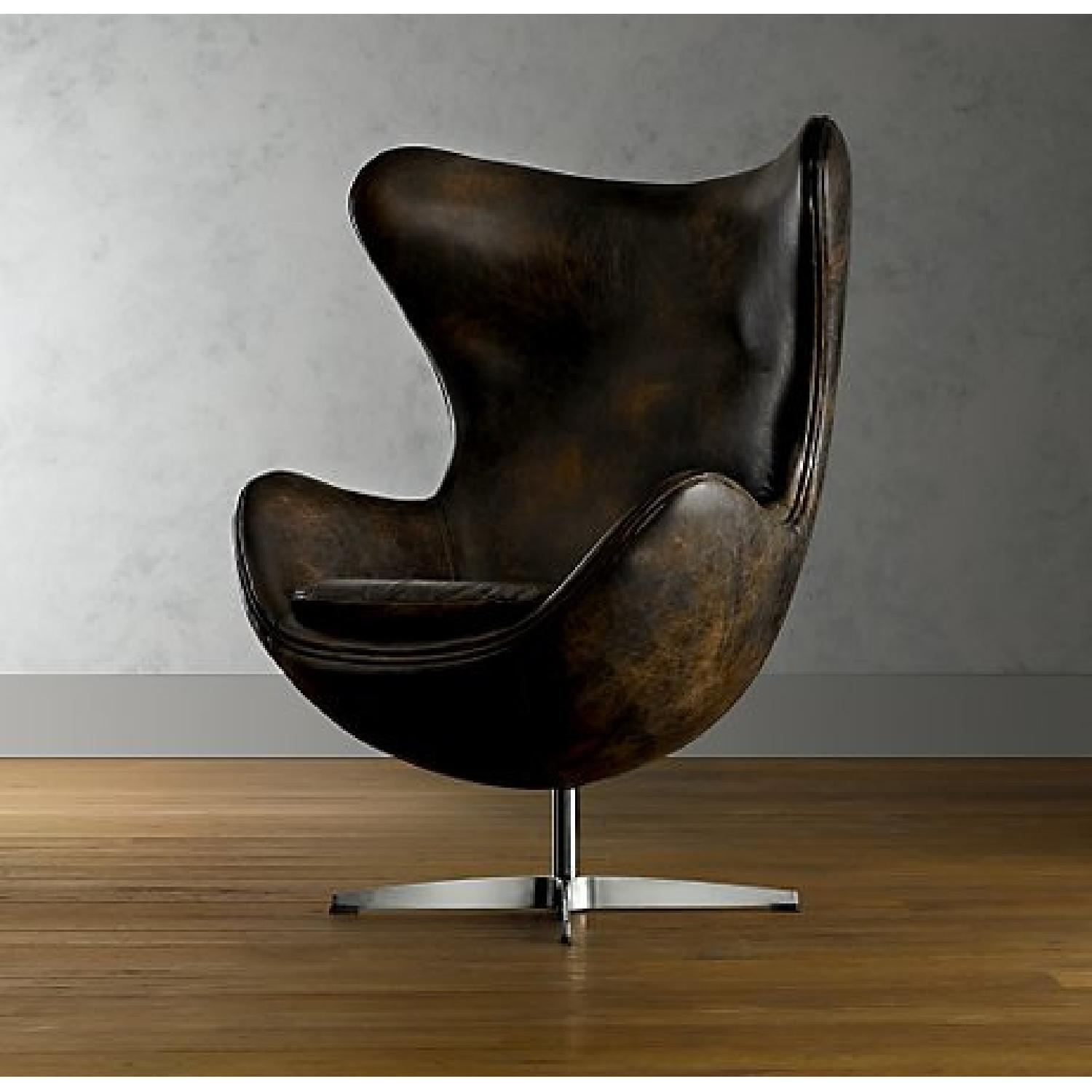 Restoration Hardware Leather Eggchair - image-0