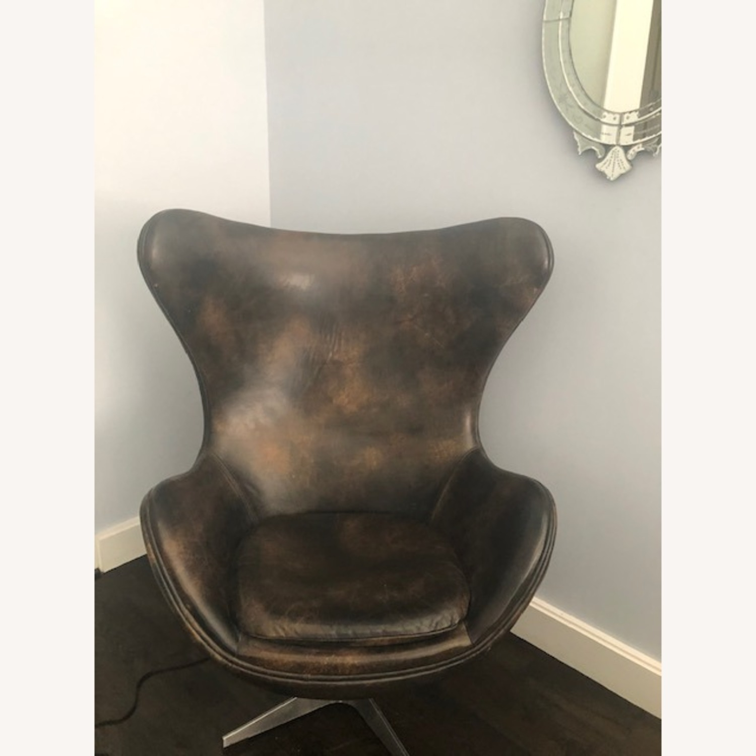 Restoration Hardware Leather Eggchair - image-1