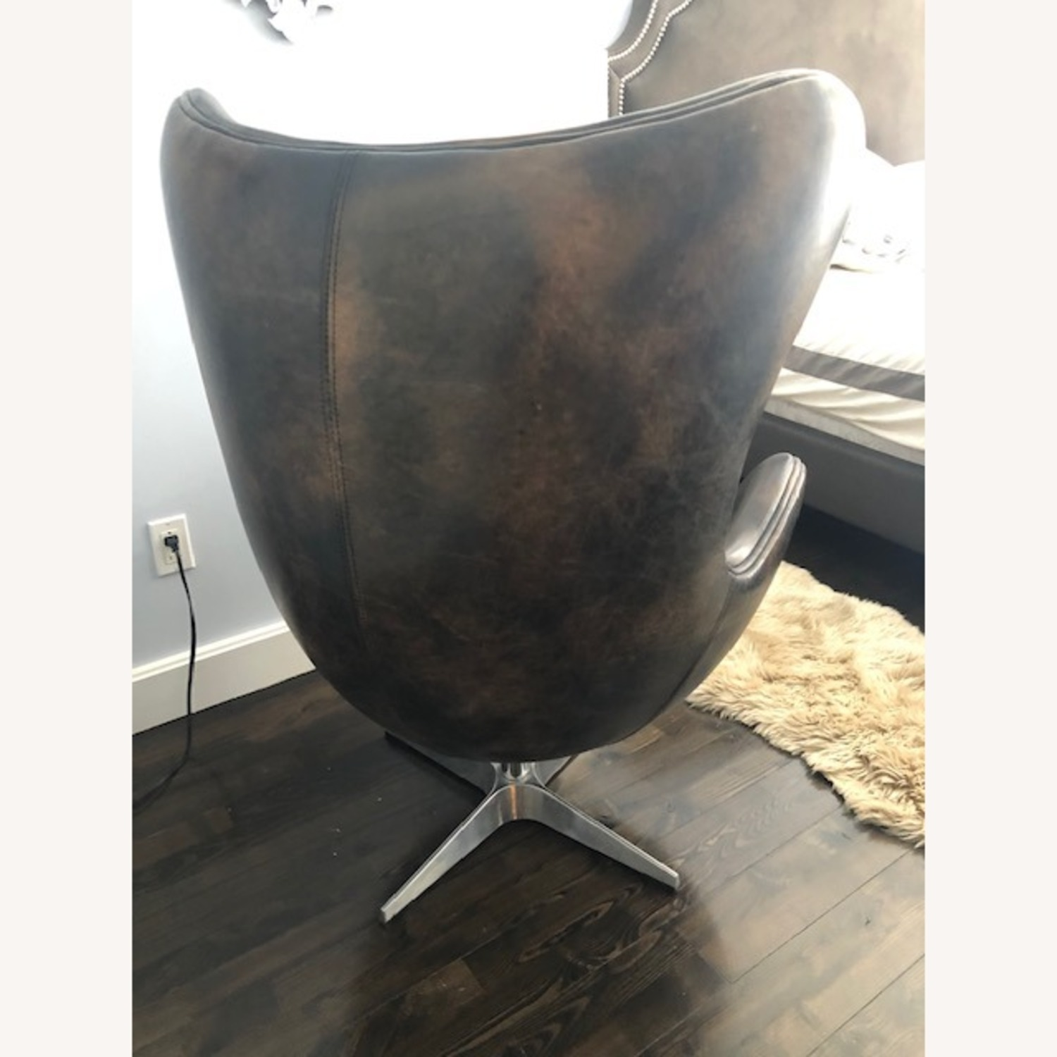 Restoration Hardware Leather Eggchair - image-2