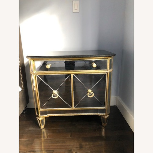 Used Elegant Mirror and Wood Bedside Table for sale on AptDeco