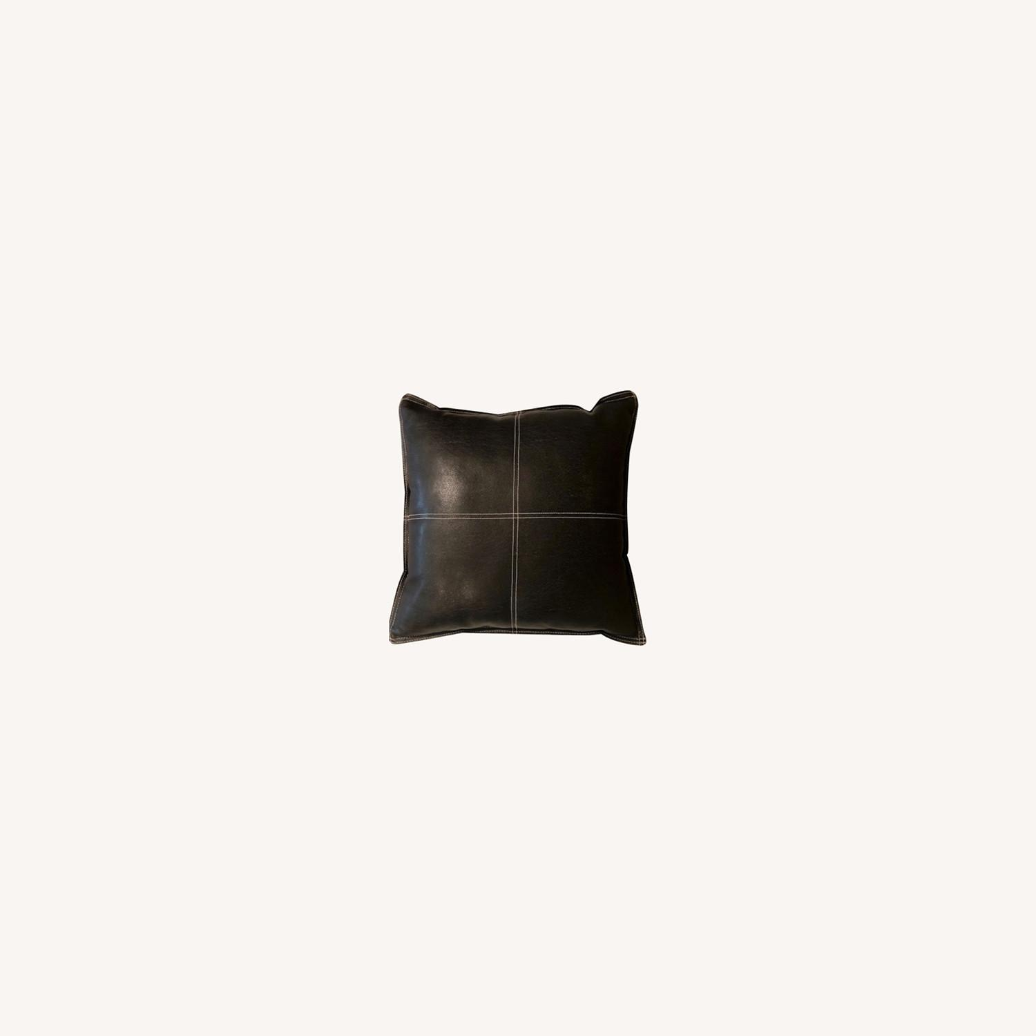 Black Leather Square Throw Pillow - image-0