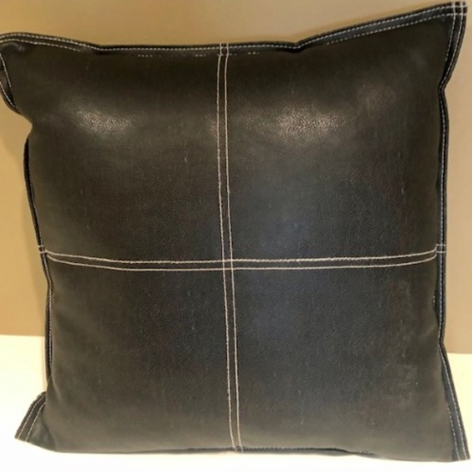 Black Leather Square Throw Pillow - image-5