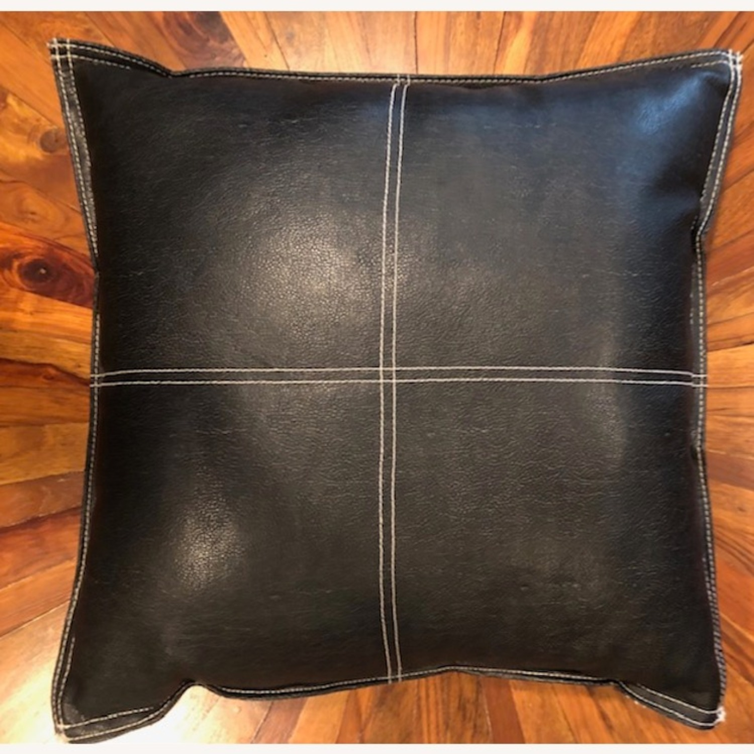 Black Leather Square Throw Pillow - image-1