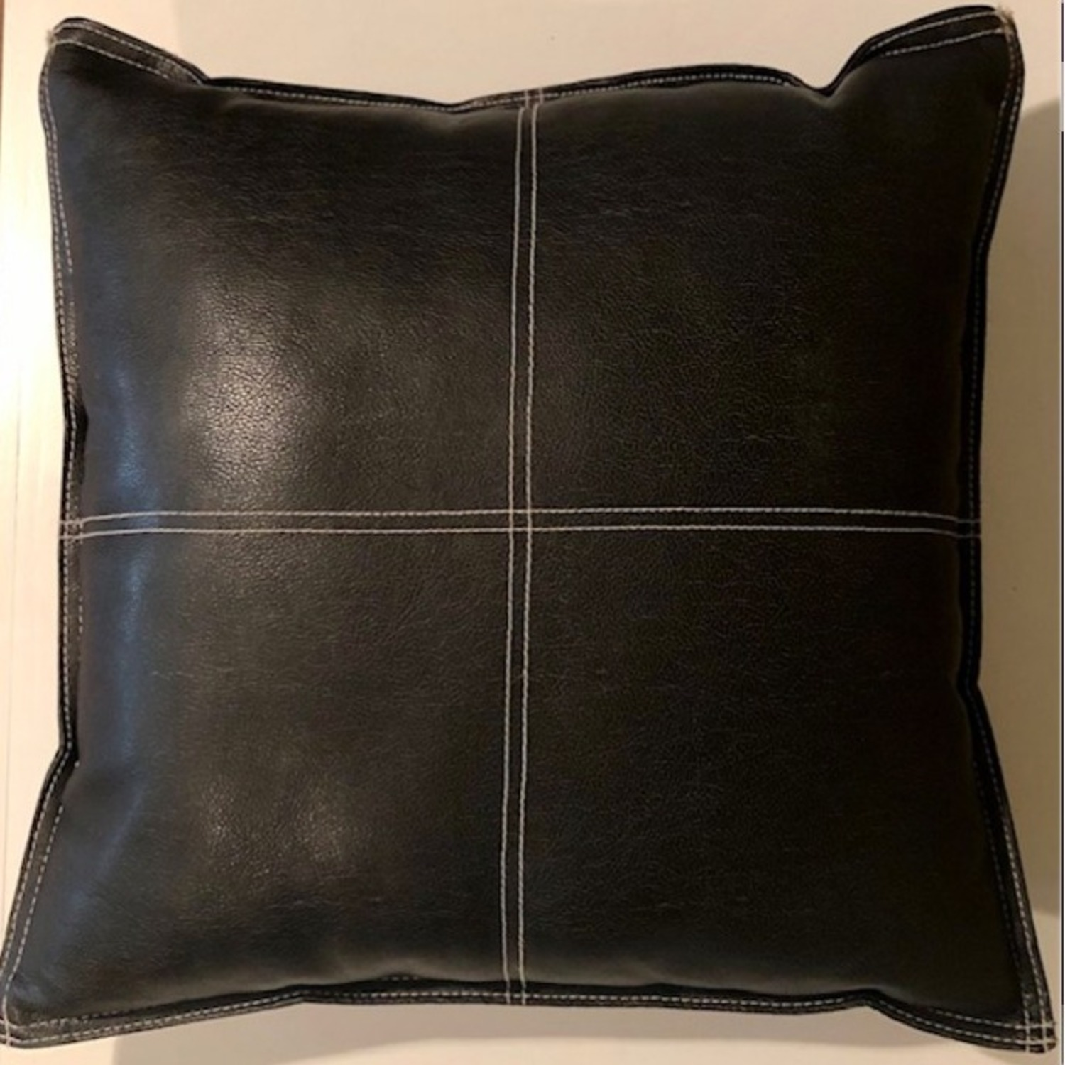 Black Leather Square Throw Pillow - image-4