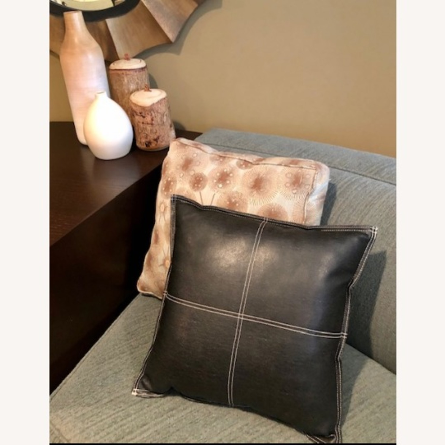 Black Leather Square Throw Pillow - image-6