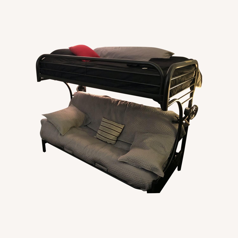 Black Metal Futon Bunk Bed - image-0