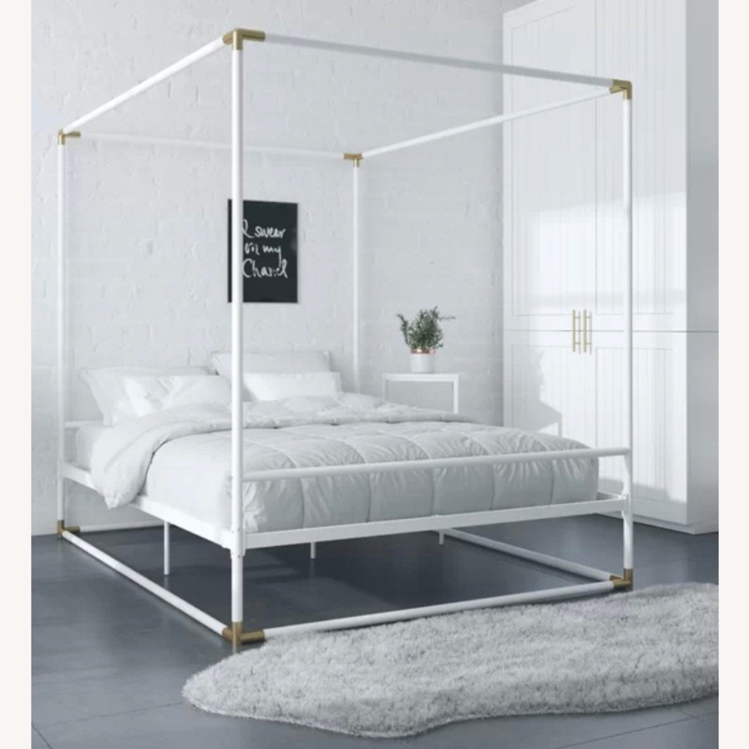 Wayfair White & Gold Metal Full Sized Canopy Bed - image-2