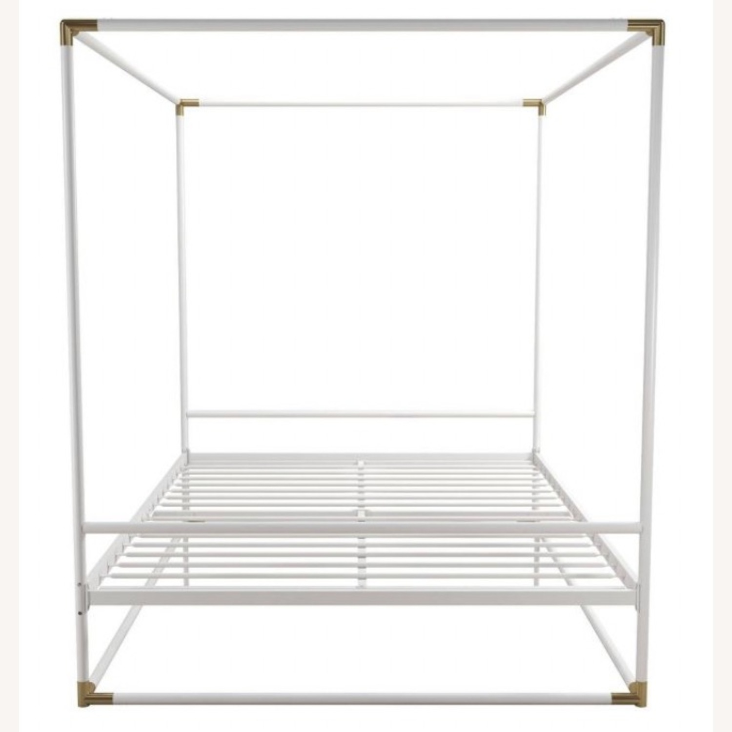 Wayfair White & Gold Metal Full Sized Canopy Bed - image-1