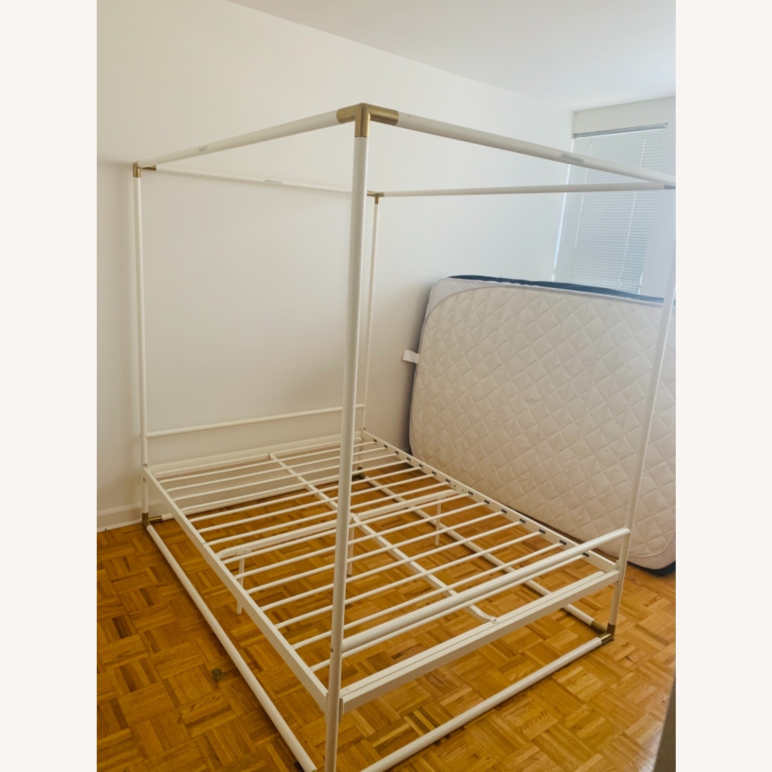 Wayfair White & Gold Metal Full Sized Canopy Bed - image-4