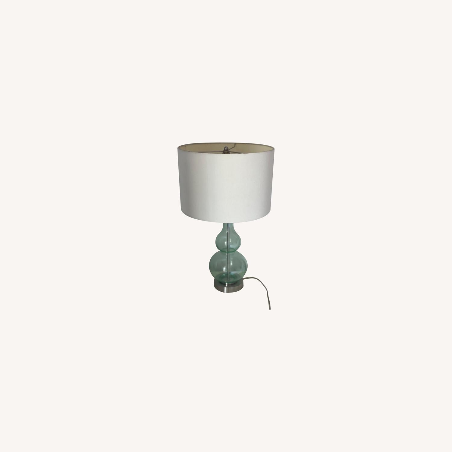 2 Green Glass Lamps - image-0