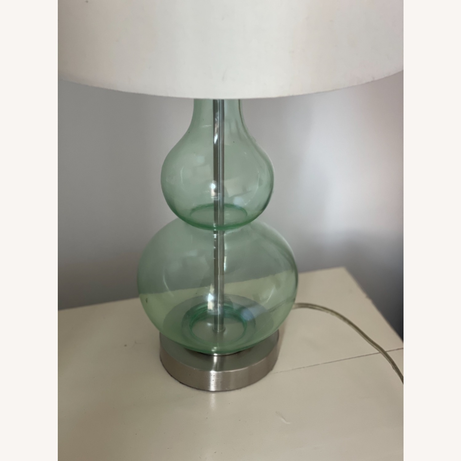 2 Green Glass Lamps - image-2