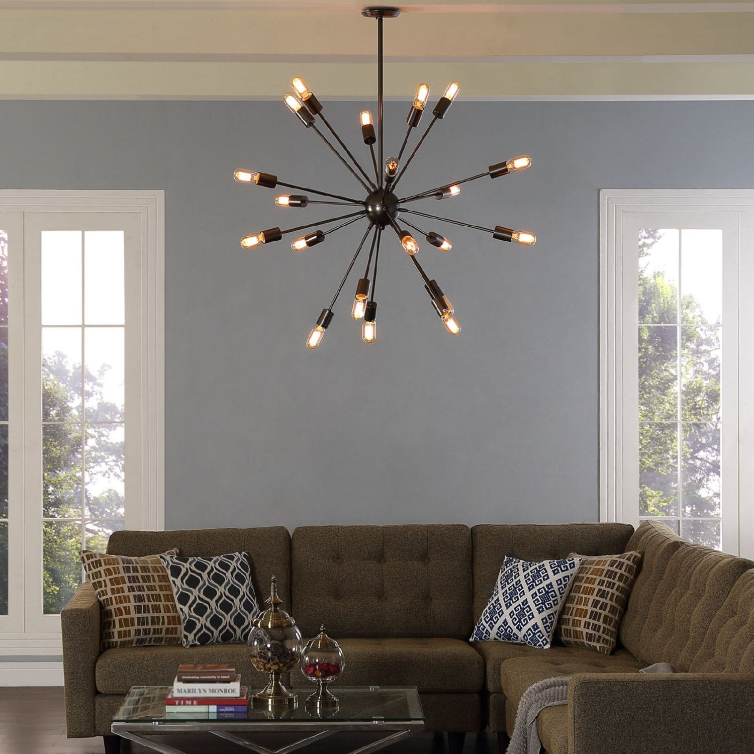 Chandelier In Stainless Steel Gray Finish - image-3