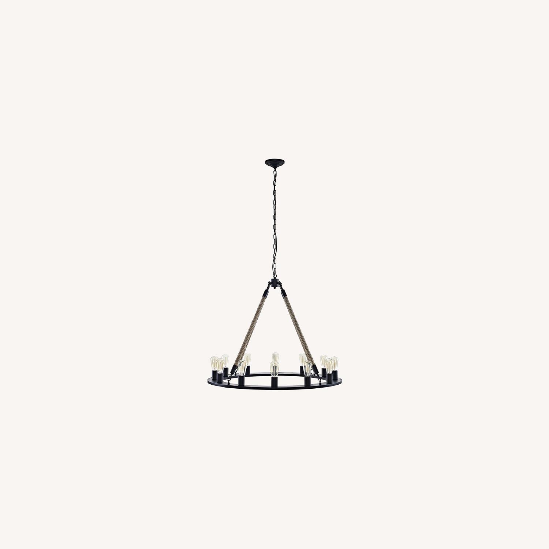 Chandelier In Brown W/ Adjustable Steel Chain - image-5