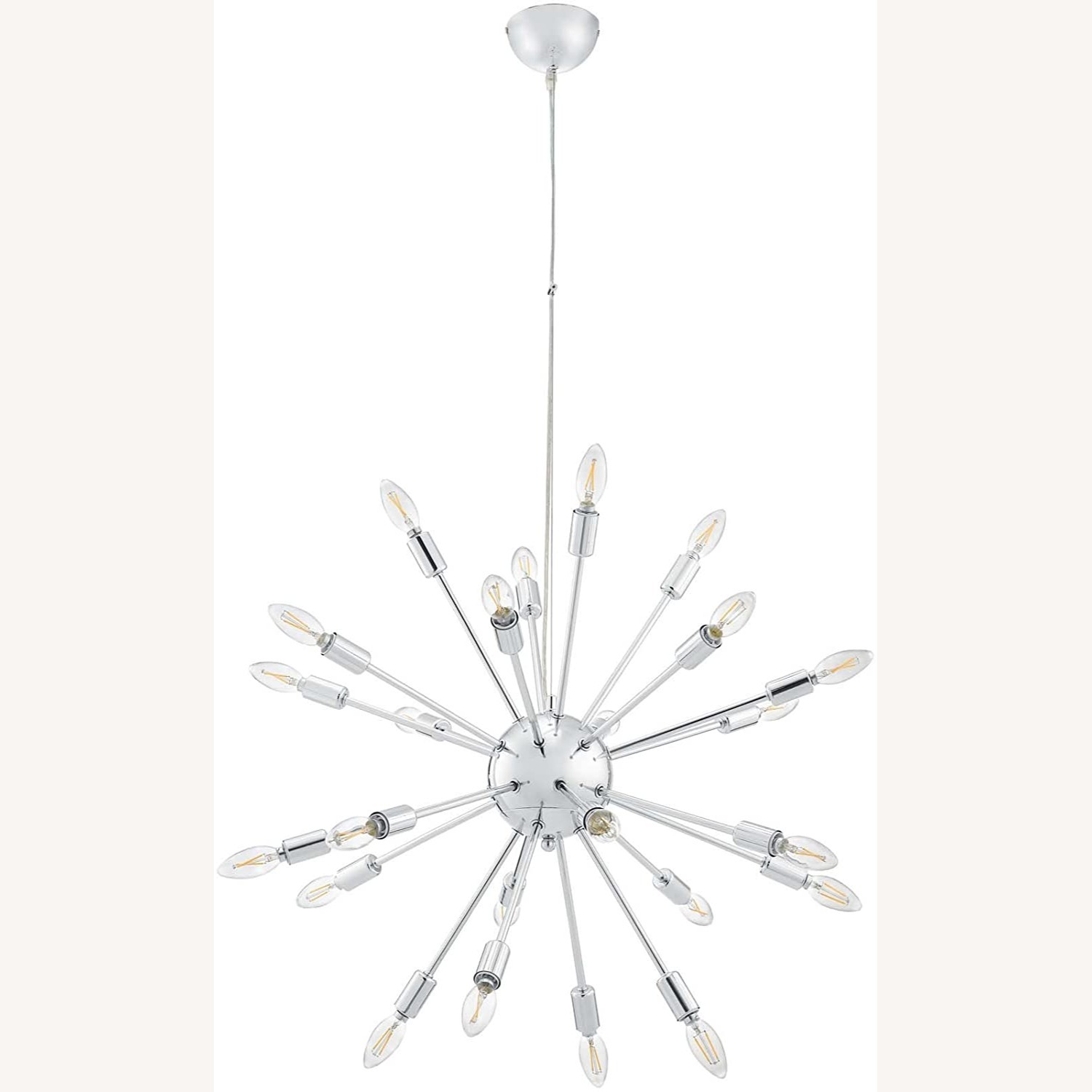 Modern Chandelier In Chrome-Plated Steel - image-0