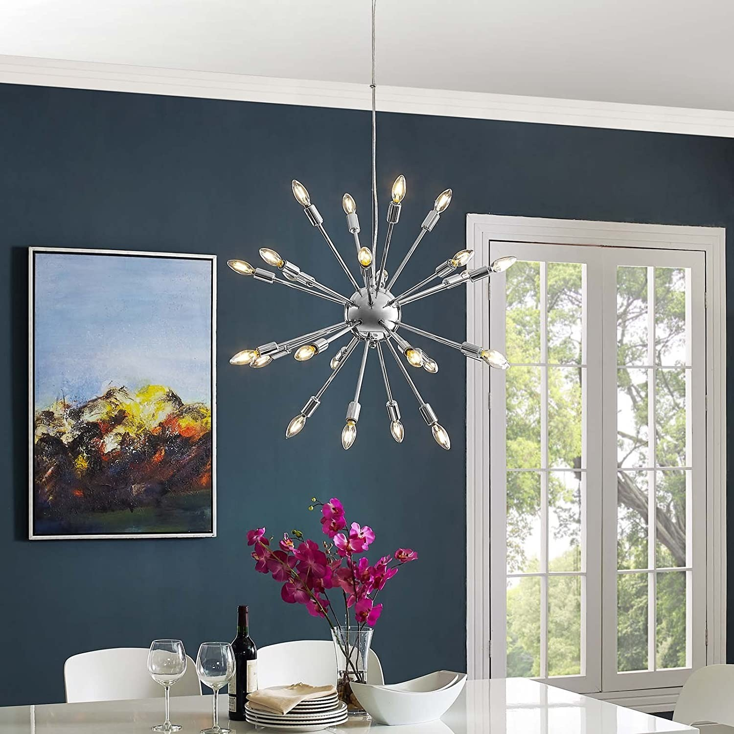 Modern Chandelier In Chrome-Plated Steel - image-3