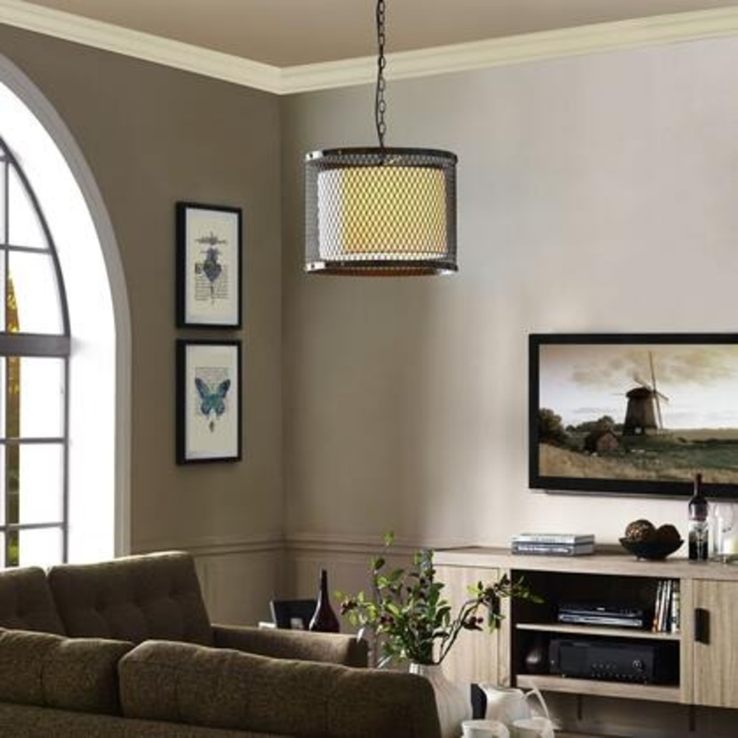 Modern Chandelier In Iron-Tinted Steel Finish - image-3